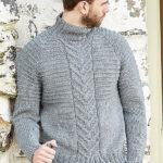 Мужской свитер с воротником спицами Latham