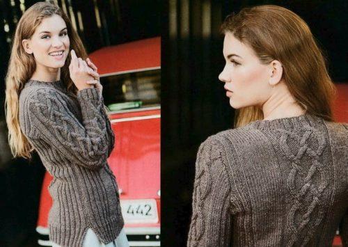 женский пуловер с аранами спицами