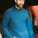 Мужской пуловер с узором из кос и аранов
