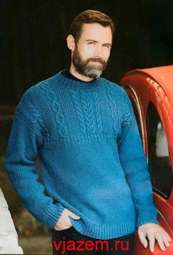 мужской пуловер с узором из кос