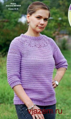 пуловеры крючком с ажурной кокеткой