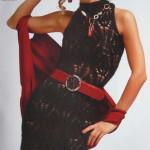 Черное ажурное платье вязаное спицами