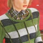 Пуловер в полоску с имитацией клетки