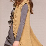 Вязаный жилет с декоративной отделкой в виде косы