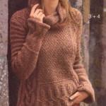 Свитер с косами спицами связанный  из журнала «Сабрина»