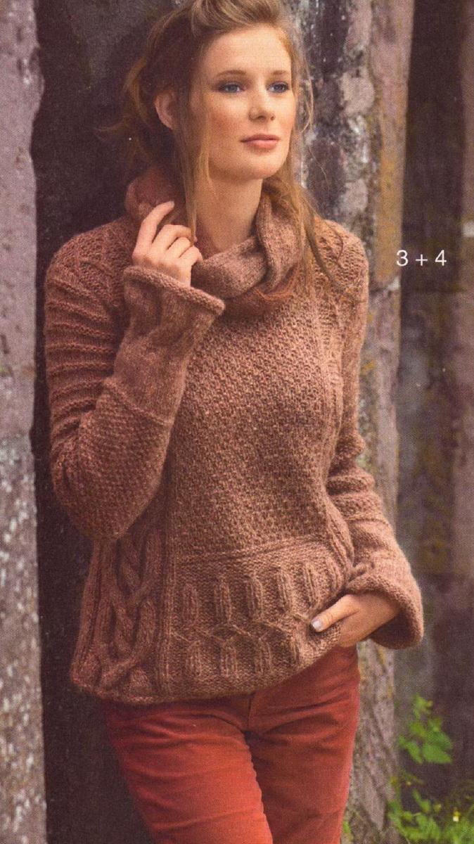 свитер с косами спицами
