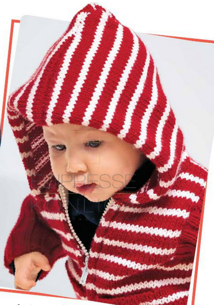 детская кофточка с капюшоном спицами на застежке
