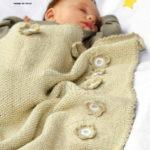 Детский плед спицами связанный жемчужным узором