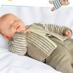 Полосатая кофточка для новорожденного спицами