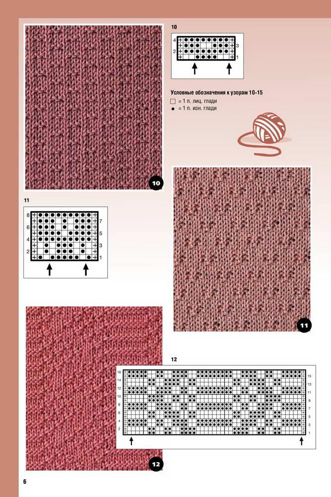 узоры из лицевых и изнаночных петель из журналов по вязанию