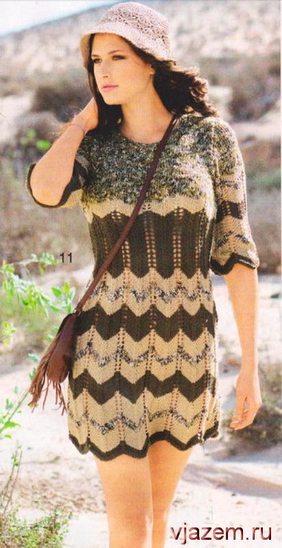 Вязание спицами для женщин. Платье из секционной пряжи Вязание из секционной пряжи спицами с узором