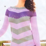 Розовый пуловер в полоску из хлопковой пряжи