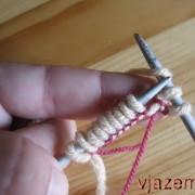 набор петель спицами, набор петель для резинки