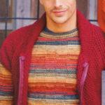 Разноцветный мужской пуловер спицами вязаный в комплекте с жилеткой