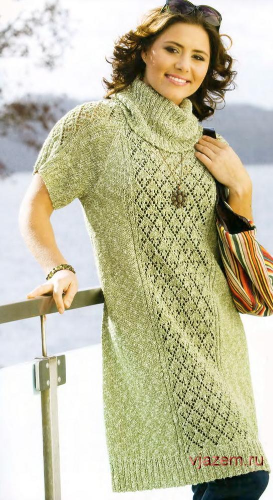 6e7f4944618 Зеленое вязаное платье большого размера
