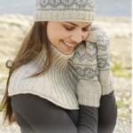 Комплект из Drops: шарф-душегрейка, варежки и шапка с норвежским узором