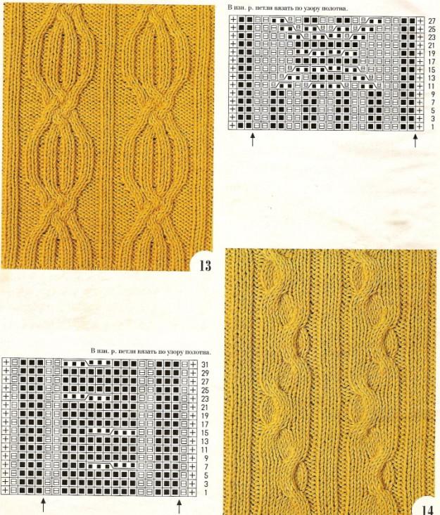 узоры  косы спицами, узоры с косами спицами схемы и описания