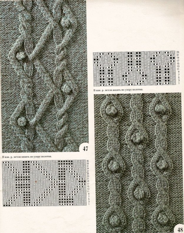 схемы вязания узоров из кос, узоры с косами  схемы вязания