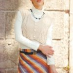 Прямая  юбка спицами вязаная по диагонали и укороченный жилет