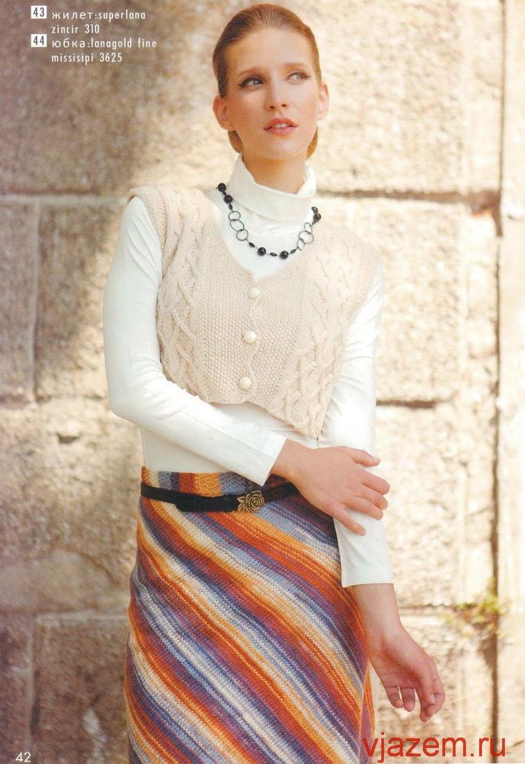 прямая юбка спицами, юбка спицами по диагонали