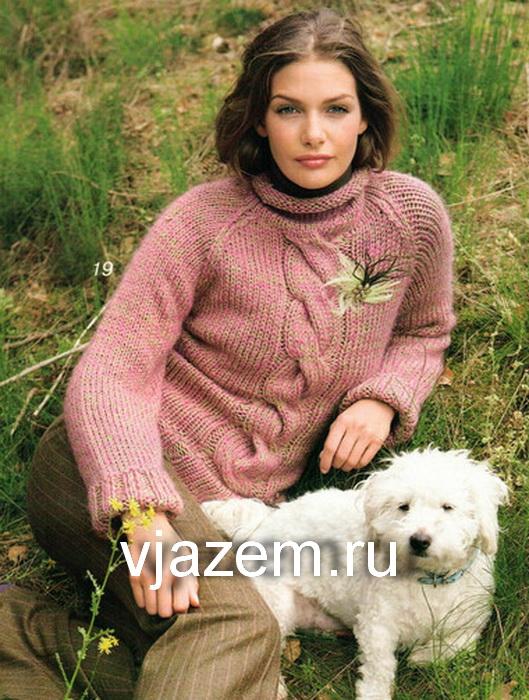 свитер с косой, свитер с косой схема и описание