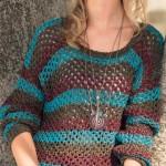 Сетчатый пуловер спицами из журнала «Сабрина»