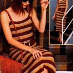 Летнее платье в полоску крючком вязаное