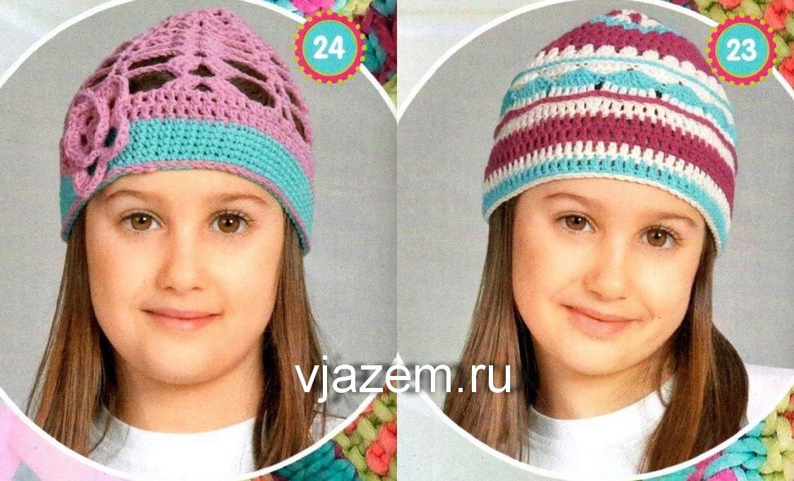 летние шапочки для девочек крючком, вязаные летние шапочки для девочек крючком