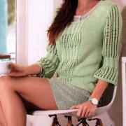 пуловер с ажурными рукавами, пуловер с ажурными рукавами спицами