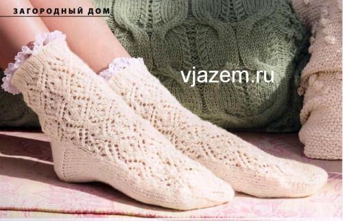 ажурные носки спицами с описанием