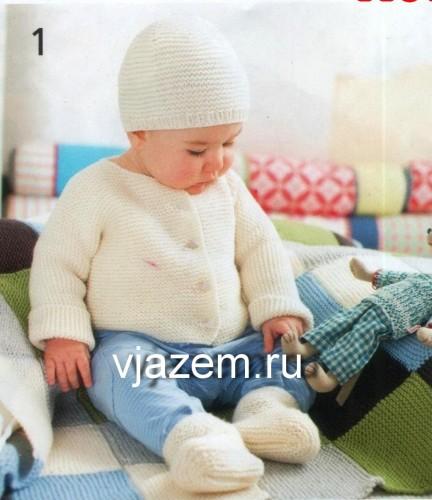шапочка и кофточка для малыша, шапочка и кофточка для малыша спицами