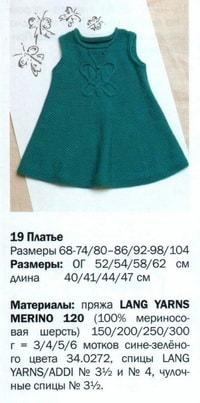 вязаное платье для девочки до 5 лет спицами