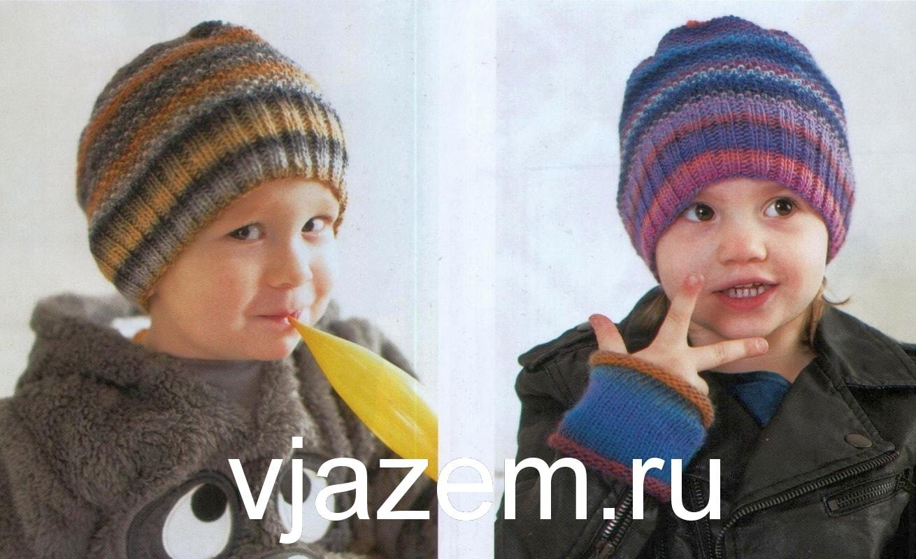 Вязаная шапка спицами для мальчика жемчужным узором