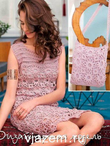 платье крючком из цветочных мотивов
