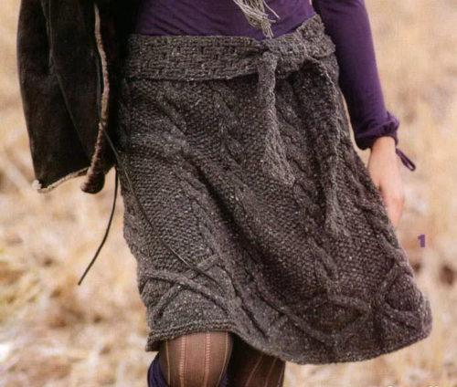 юбка с косами спицами