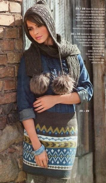 a4fb63d69ca 4 юбки с жаккардовым узором спицами  схемы из журналов по вязанию