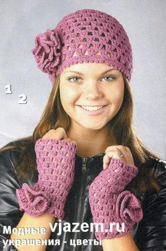 женская ажурная шапочка крючком