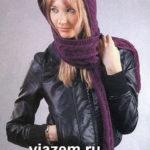 Фиолетовый шарф — капюшон спицами: схема и описание