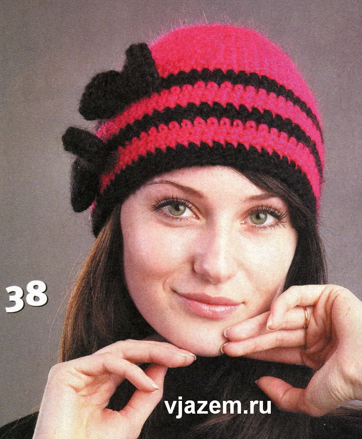 вязание крючком теплой шапочки