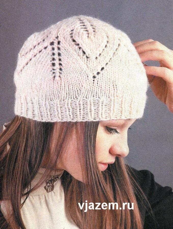 шапки с ажурным узором спицами