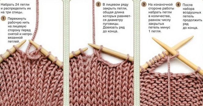 Вязание дырка для пуговицы