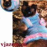 Вязаное платье для кошки крючком