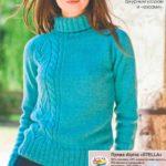 Женский свитер с асимметричным узором спицами