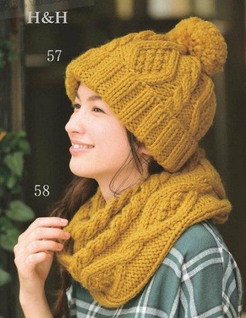 шапка и снуд с косами из толстой пряжи желтого цвета