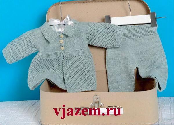 кофточка и штанишки для малыша спицами