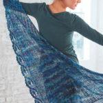 Ассиметричная шаль спицами с красивой каймой