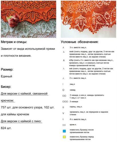 Метраж и спицы:  Зависят от вида используемой пряжи и плотности вязания. Размер:  Единый