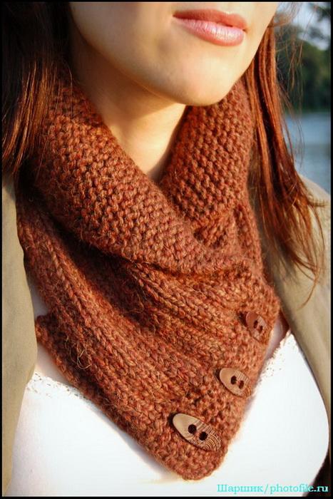шарф воротник на пуговицах спицами