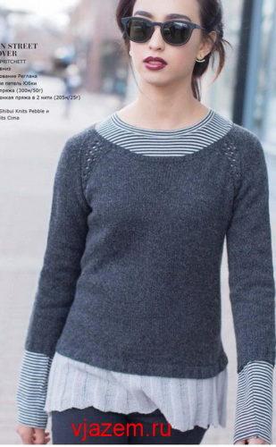 женский двухцветный пуловер спицами