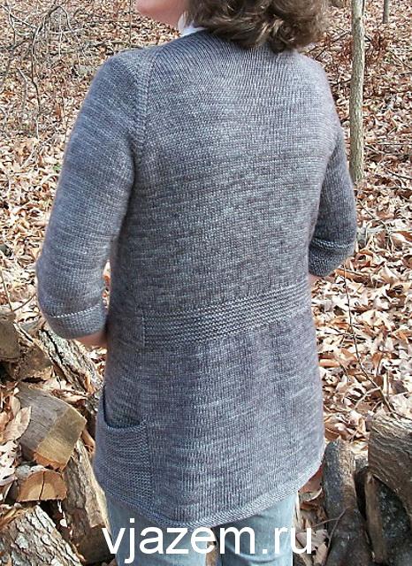 кардиган с карманами спицами